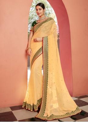 Yellow Patch Border Organza Classic Designer Saree