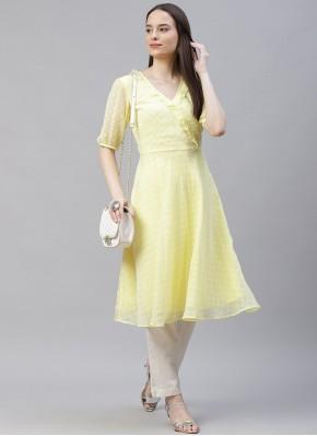 Yellow Plain Jacquard Party Wear Kurti