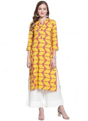 Yellow Print Party Wear Kurti