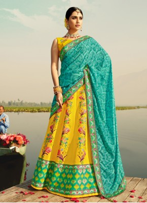 Yellow Print Silk Readymade Lehenga Choli