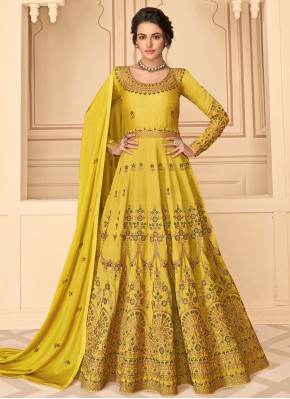 Yellow Pure Silk Embroidered Designer Floor Length Salwar Suit