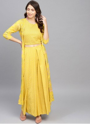 Yellow Rayon Printed Casual Kurti