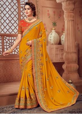 Yellow Reception Silk Classic Designer Saree