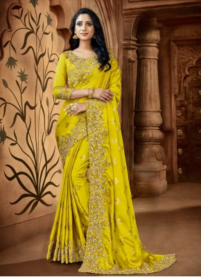 Yellow Satin Embroidered Trendy Saree