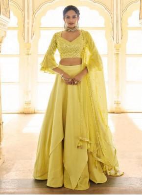 Yellow Satin Silk Fancy Lehenga Choli