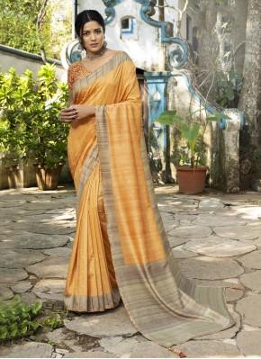 Yellow Silk Printed Designer Traditional Saree