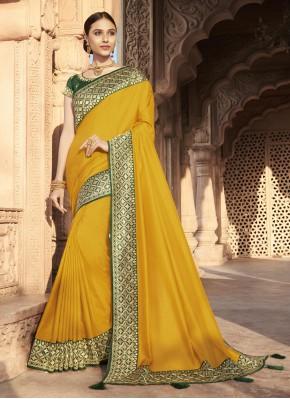 Yellow Silk Traditional Designer Saree