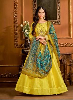 Yellow Tafeta Silk Festival Floor Length Anarkali Suit