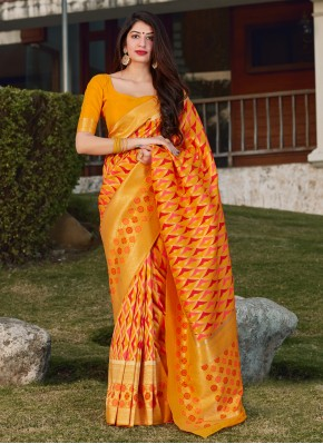 Yellow Weaving Sangeet Designer Saree