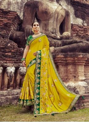Yellow Wedding Silk Designer Saree