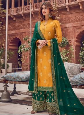 Yellow Woven Silk Palazzo Designer Salwar Kameez