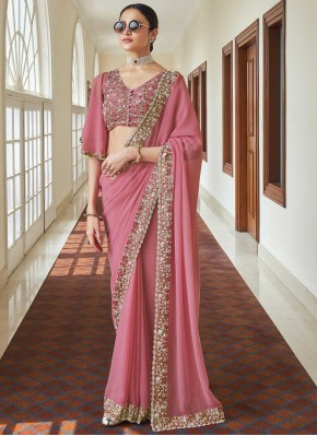 Zari Faux Georgette Classic Designer Saree in Pink