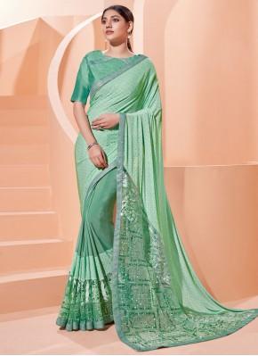 Zari Lycra Trendy Saree in Sea Green