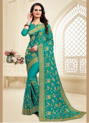 Zari Satin Silk Classic Saree in Green