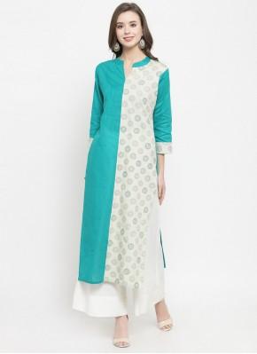 Zesty Cotton Turquoise Fancy Party Wear Kurti