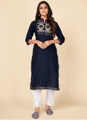 Zesty Embroidered Navy Blue Rayon Party Wear Kurti