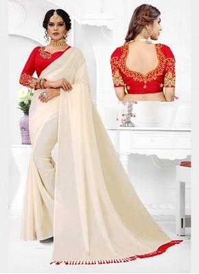 Zesty Embroidered Organza Off White Classic Designer Saree