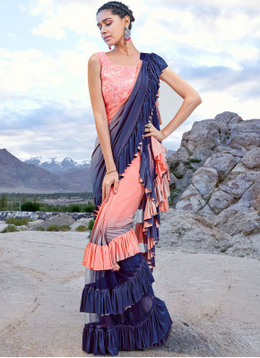 Zesty Fancy Fabric Embroidered Half N Half Trendy Saree
