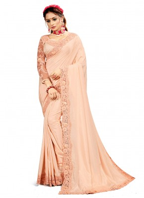 Zesty Patch Border Crepe Silk Peach Designer Saree